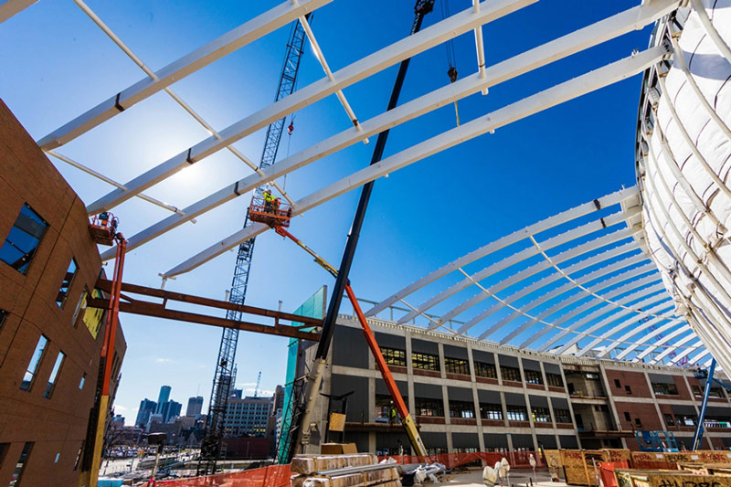 Trusses in place for Little Caesars Arena atrium