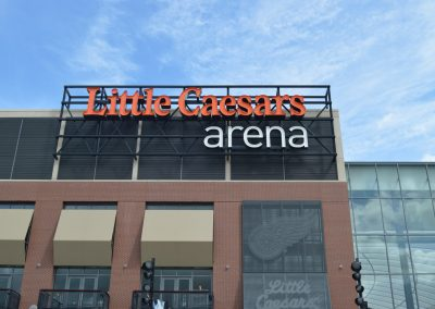 Ideal Steel's fabricated steel sign support systems used for the main signage at Little Caesars Arena in Detroit, Michigan