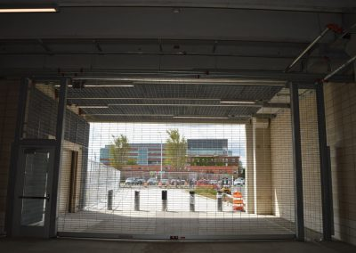 Ideal Steel's custom grading and overhead door at the parking garage at Little Caesars Arena in Detroit, Michigan