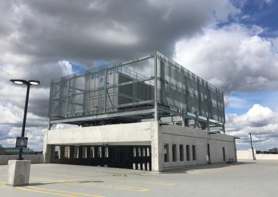 Ideal Steel's steel fabricated cooling tower system on the top of the Little Caesars Arena parking garage