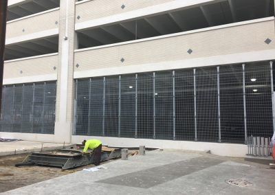 Ideal Steel's custom grading on the parking garage at Little Caesars Arena in Detroit, Michigan