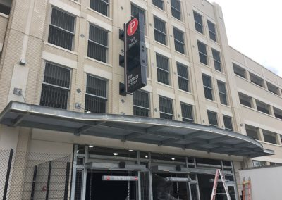Ideal Steel's custom grading and overhead awning on the parking garage at Little Caesars Arena in Detroit, Michigan