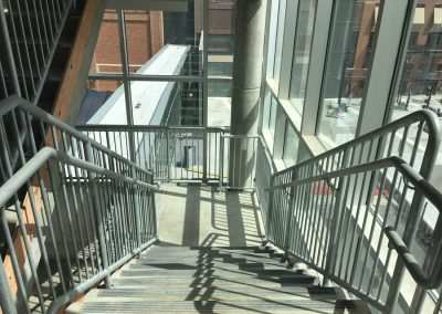 Ideal Steel's stairway hand railing at the parking garage at Little Caesars Arena in Detroit, Michigan